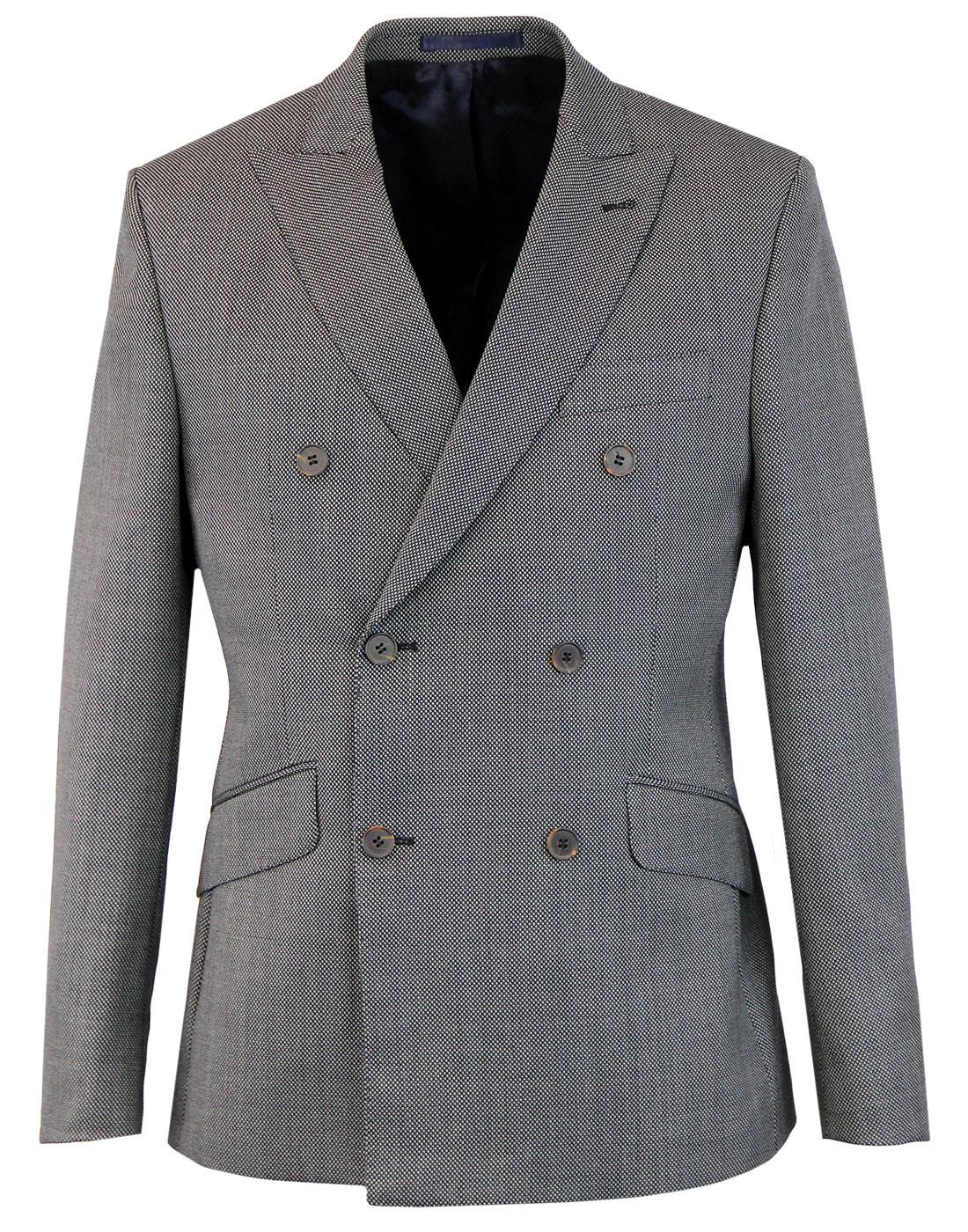 60s Mod Birdseye Check Double Breasted Suit Jacket