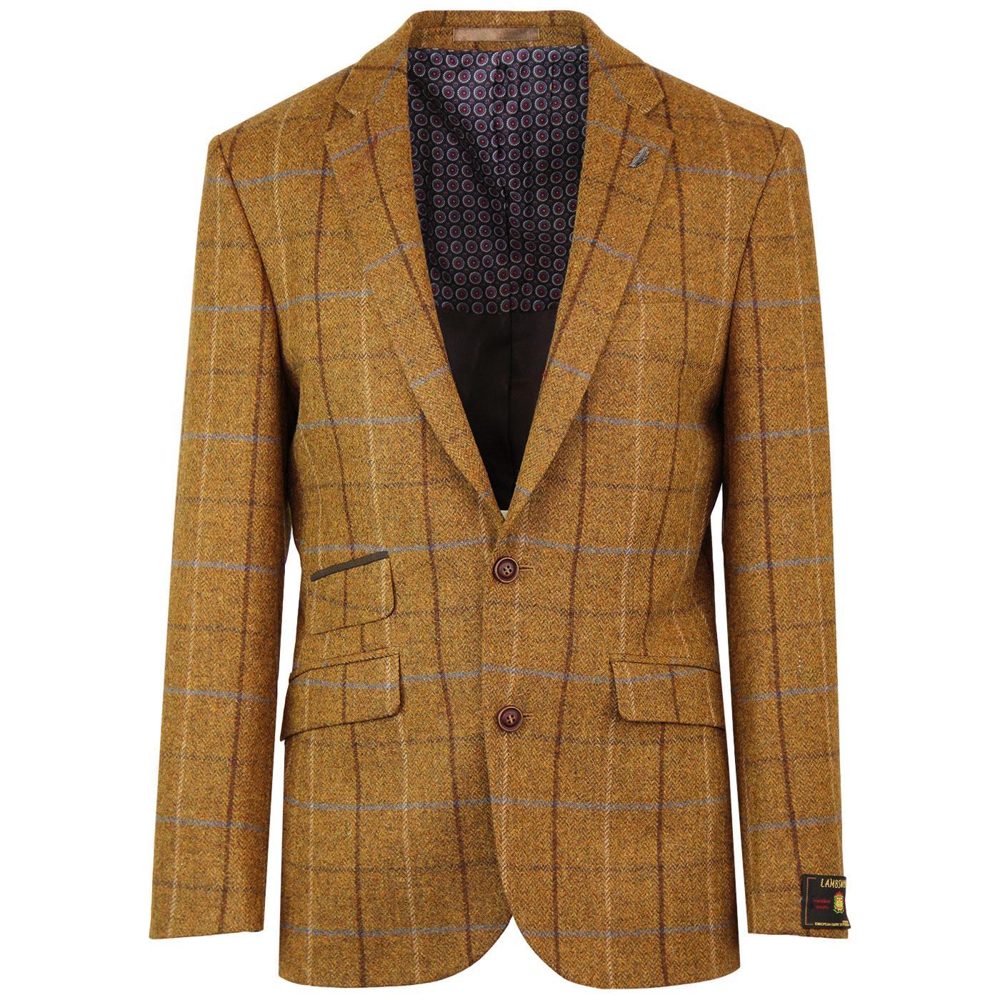 Mod Four Colour Gold Check Tailored Blazer Jacket