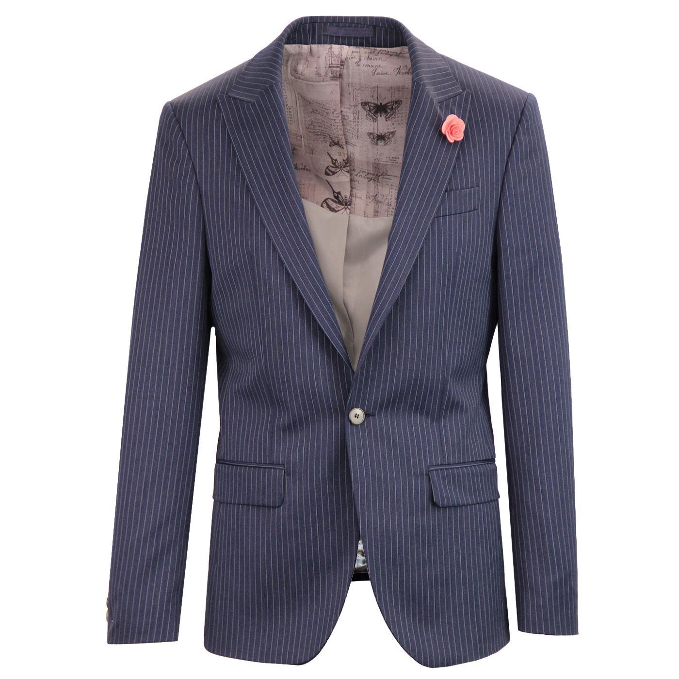 Men's 60s Mod Tailored Pinstripe Suit Jacket NAVY