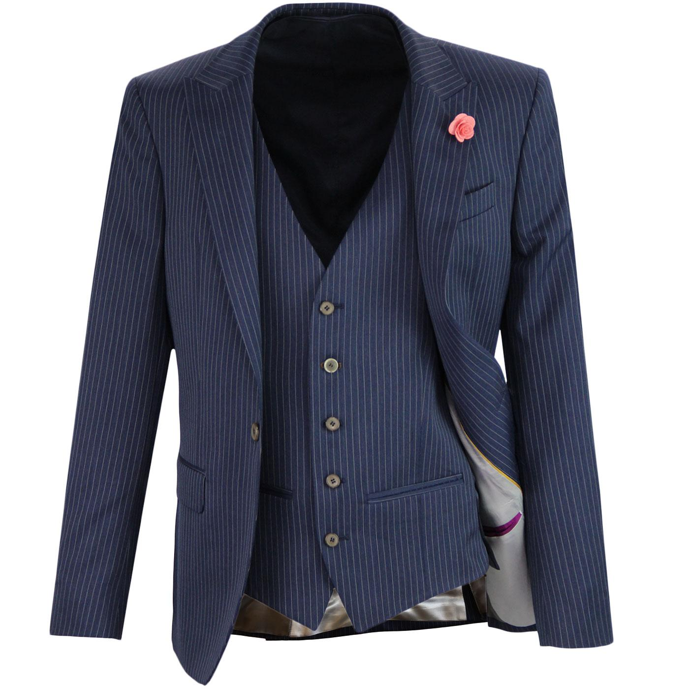 Mens Retro 60s Mod 3 Piece Pinstripe Suit