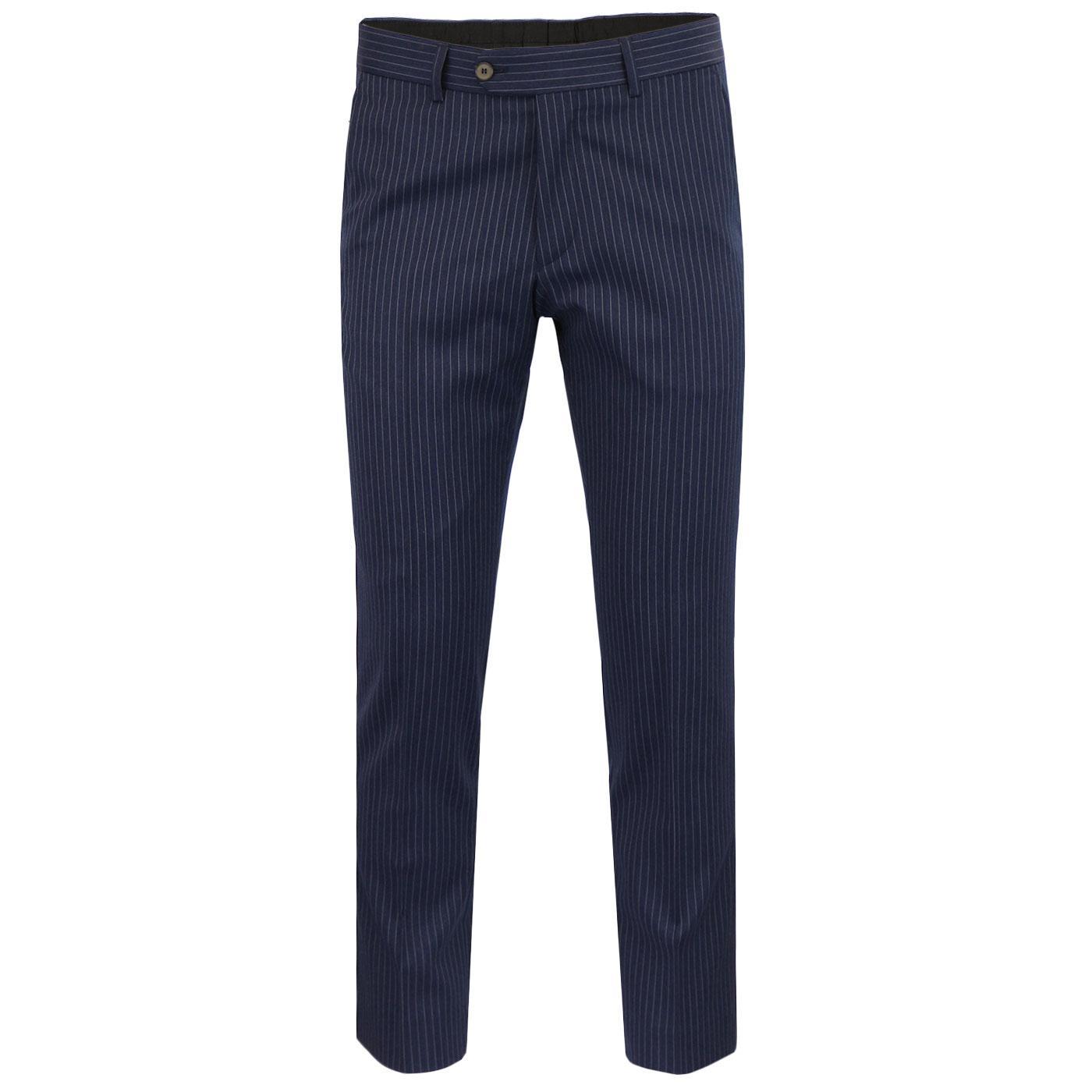 Men's Mod Pinstripe Slim Leg Suit Trousers (Navy)