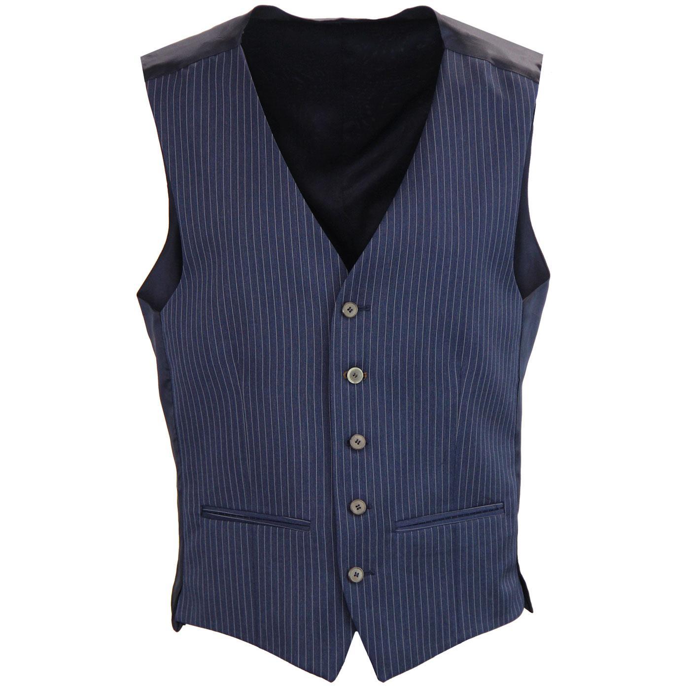 Men's 1960s Mod Tailored Pinstripe Waistcoat NAVY