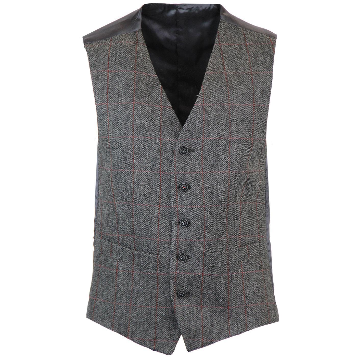 Retro Mod Windowpane Check V-Neck Waistcoat (Grey)