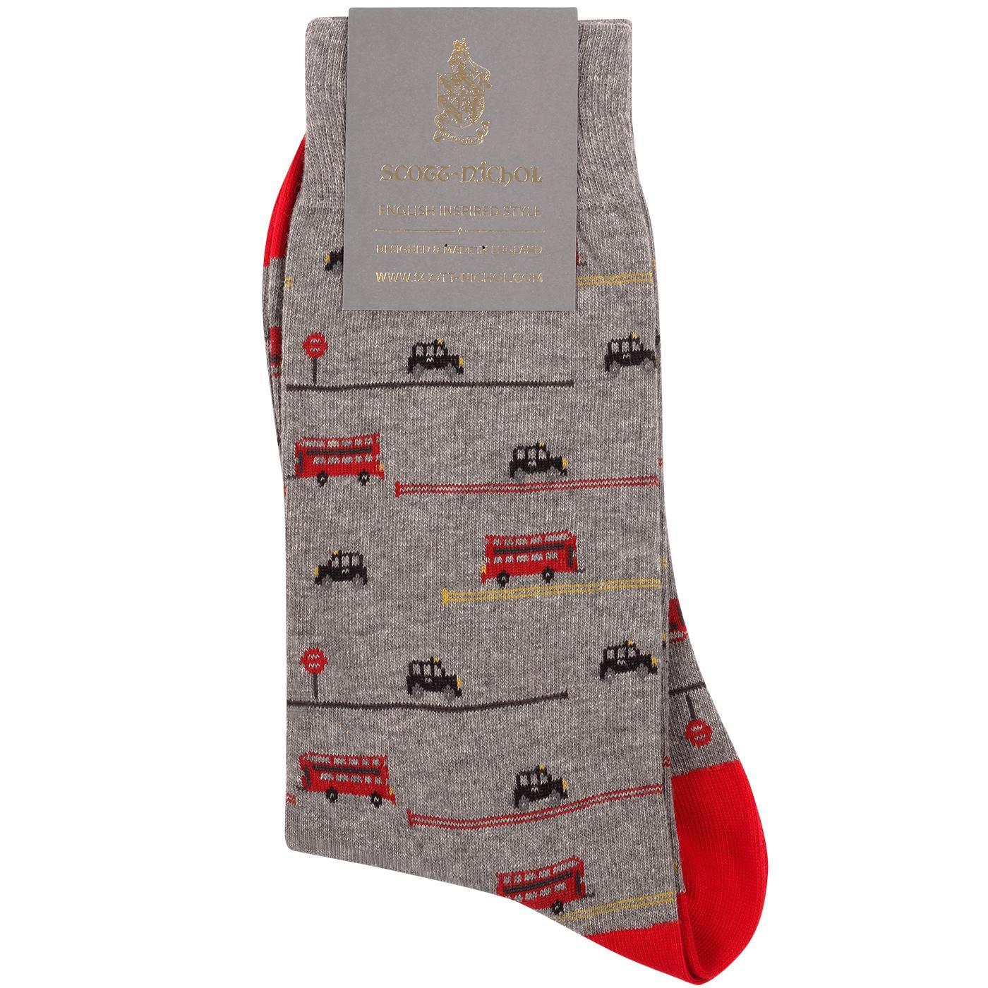 + SCOTT-NICHOL Retro London Bus & Black Cab Socks