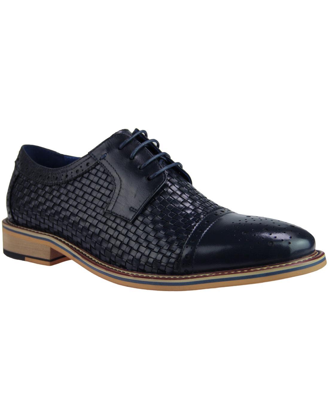 Gabriel SERGIO DULETTI Mod Weave Brogue Shoes NAVY