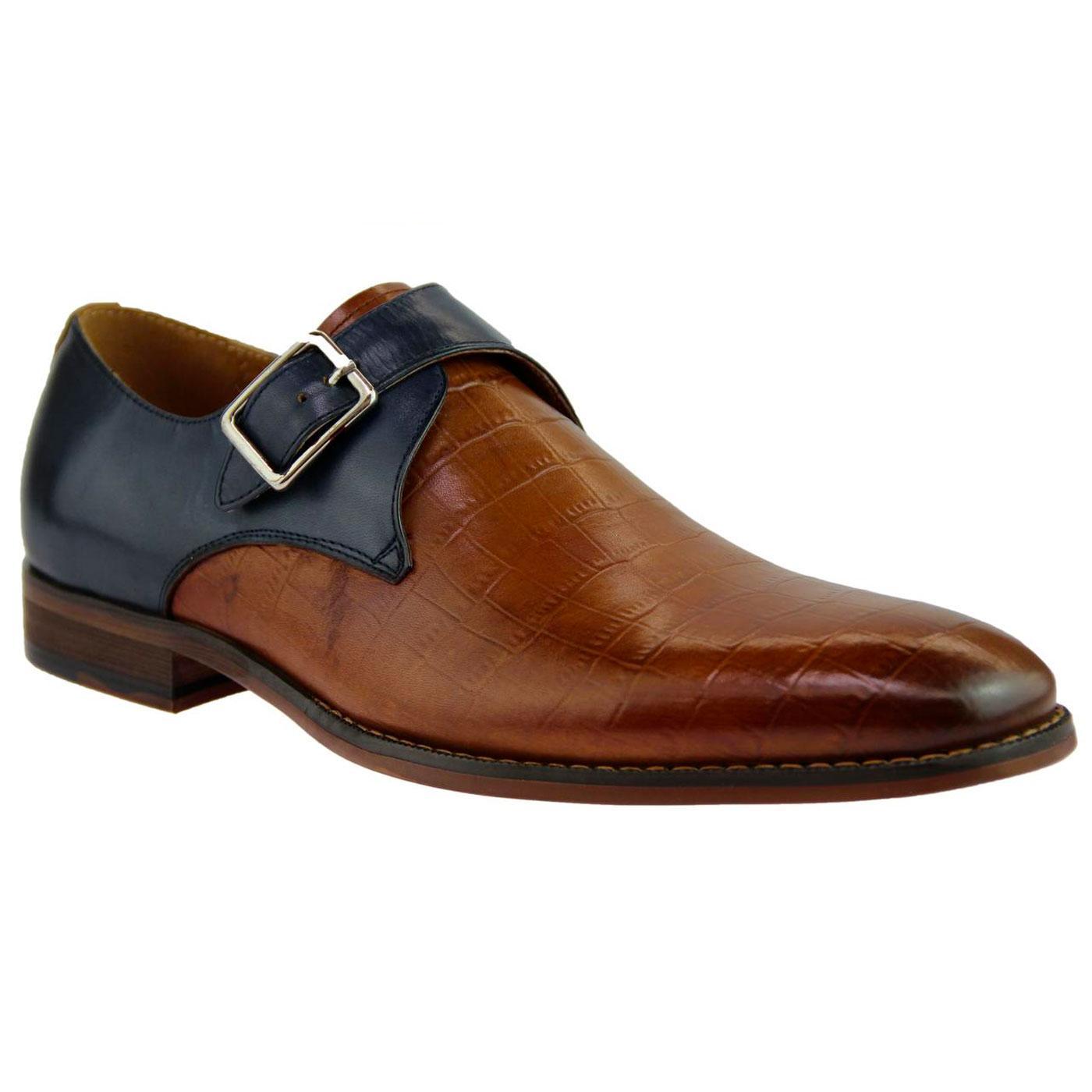 Jordi SERGIO DULETTI Retro Croc Stamp Monk Shoes