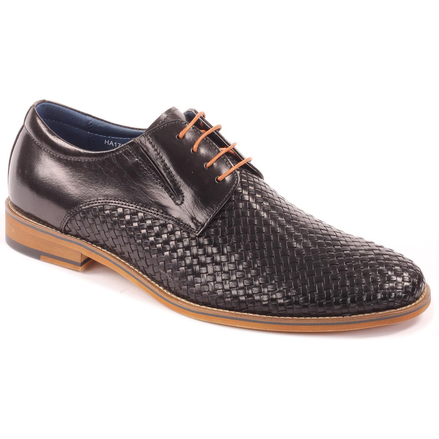 Toni SERGIO DULETTI Basket Weave Derby Shoes BLACK