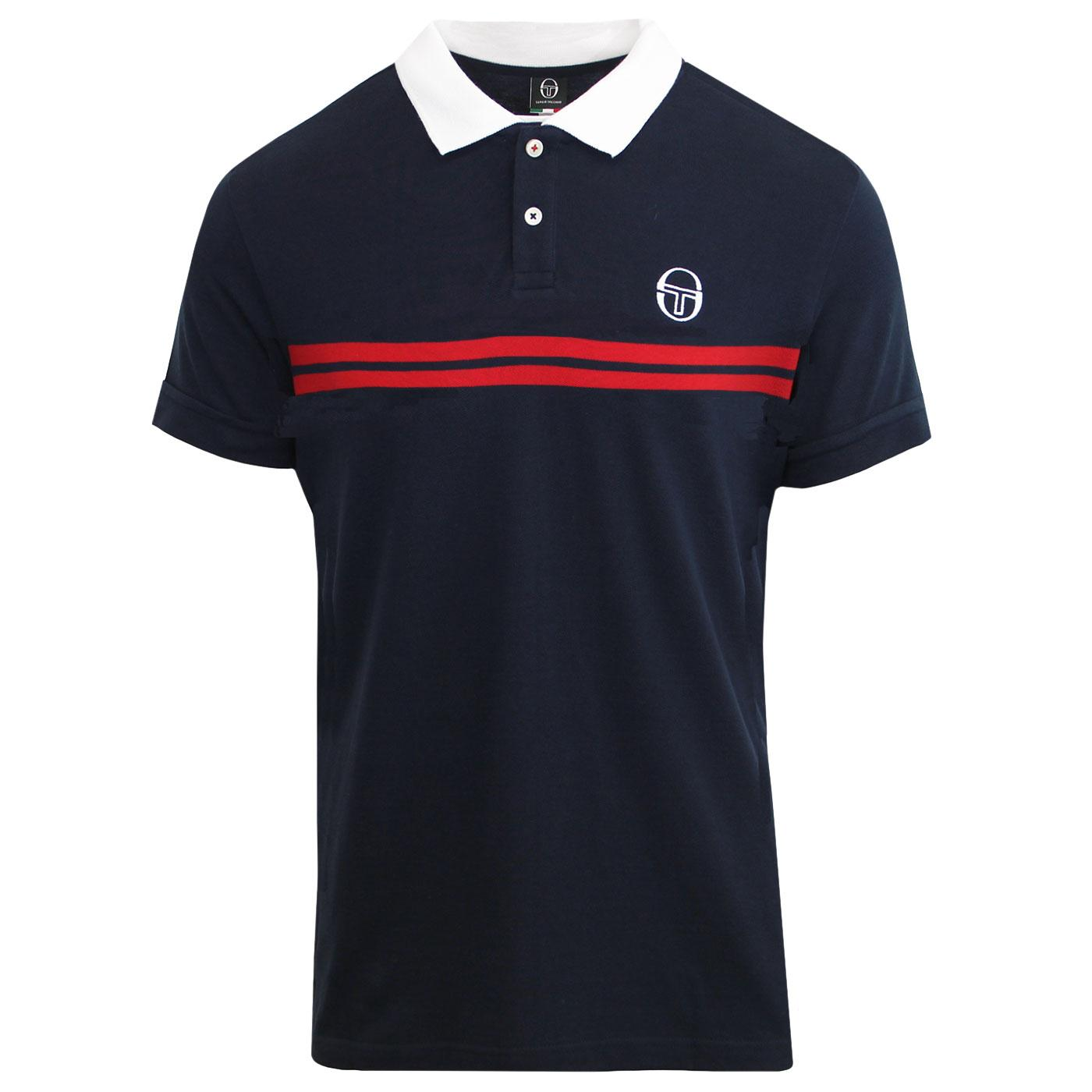 Supermac SERGIO TACCHINI Retro 80s Polo Shirt NAVY