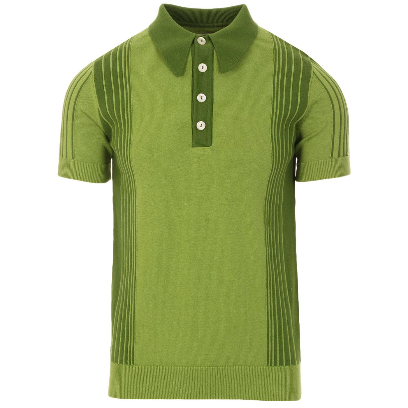 SKA & SOUL 60s Mod Stripe Panel SS Knit Polo GREEN