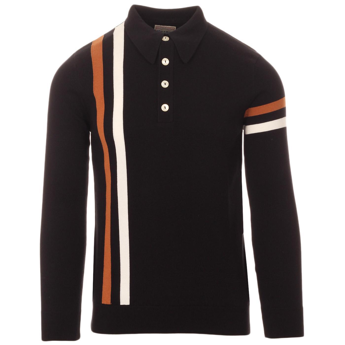 SKA & SOUL 60s Mod Racing Stripe Knit Polo Shirt B