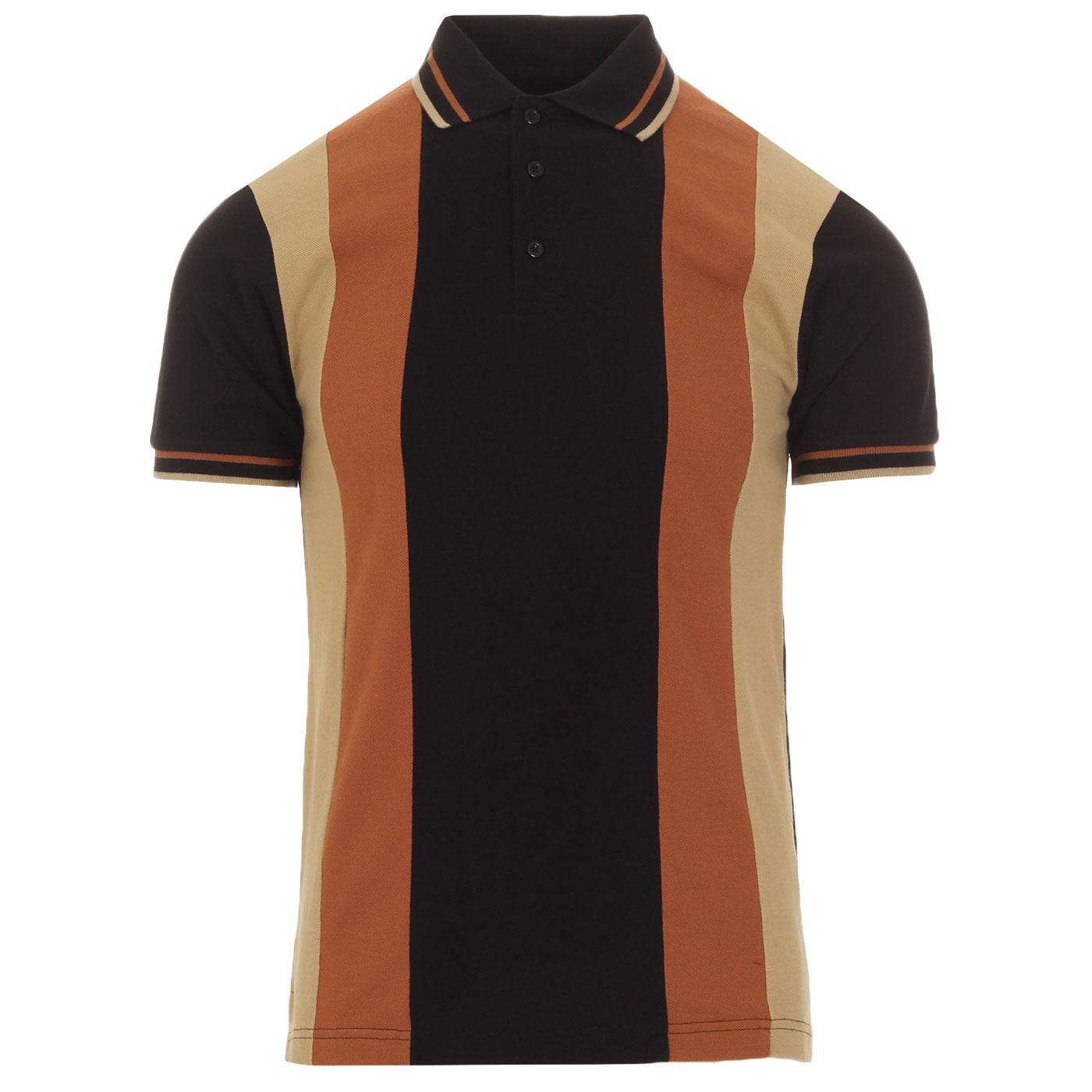 SKA & SOUL Mod Stripe Panel Pique Polo Top (Black)