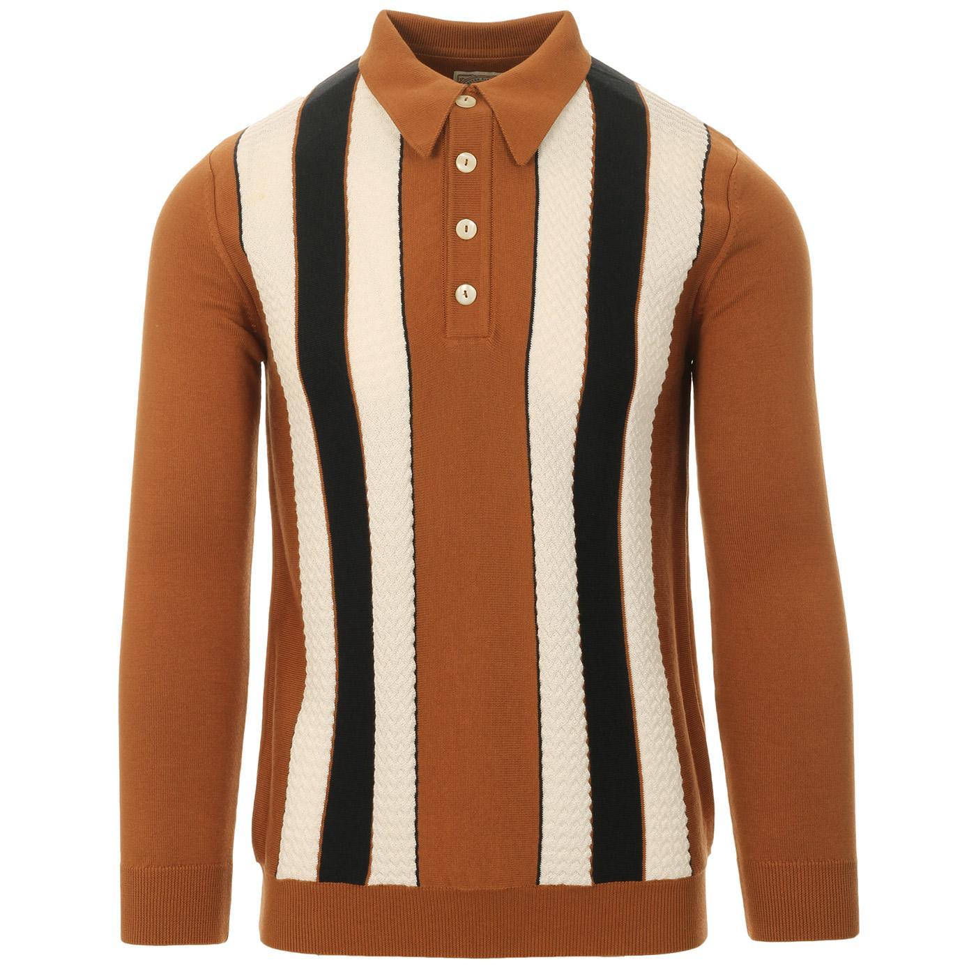 SKA & SOUL 60s Mod Texture Stripe LS Knit Polo (G)