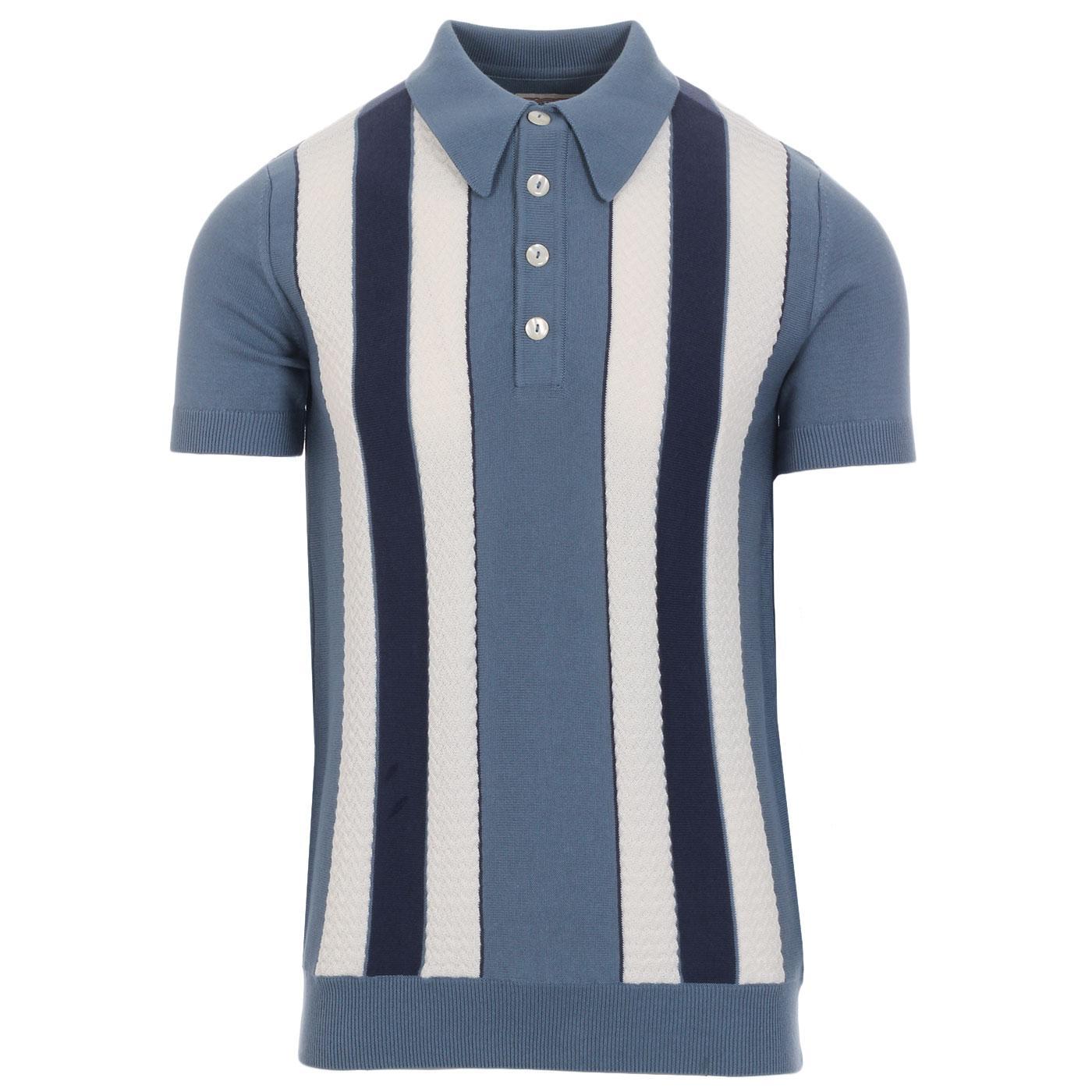 SKA & SOUL Mod Textured Stripe Knit Polo Top DEMIM