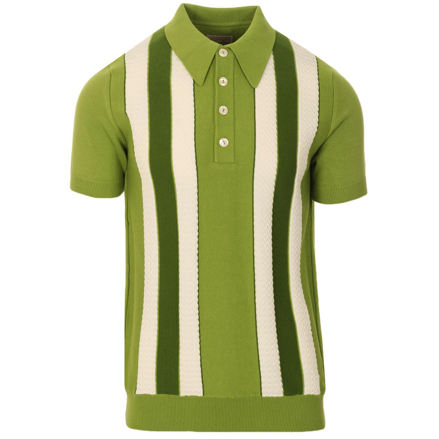 SKA & SOUL Mod Textured Stripe Knit Polo (Green)