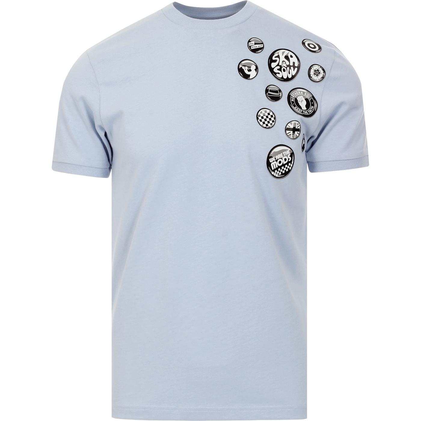 SKA & SOUL Retro Mod Badge Print T-shirt (Sky)