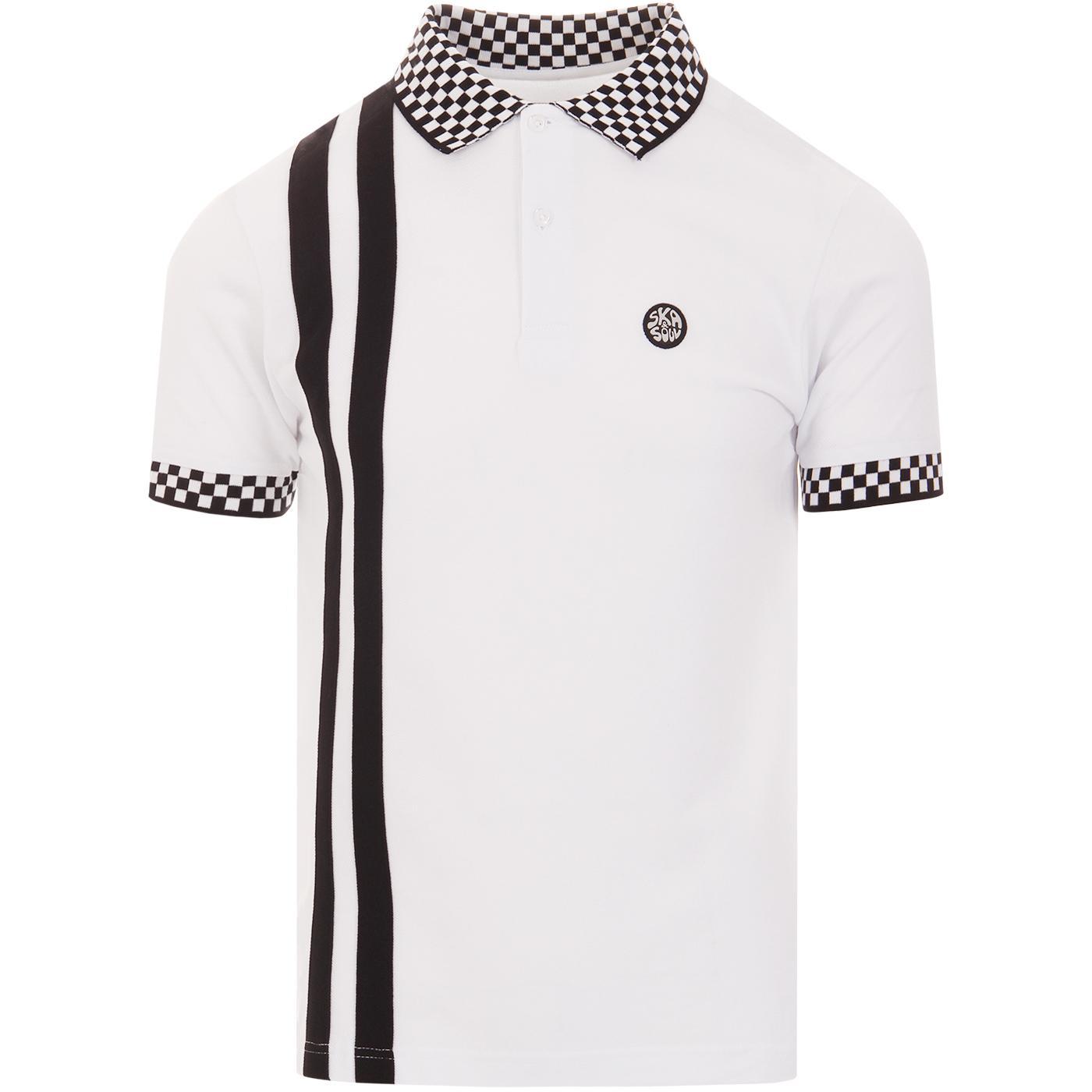 SKA & SOUL Checkerboard Trim Twin Stripe Polo (W)
