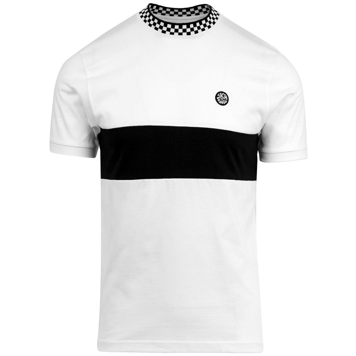 SKA & SOUL Men's Mod Checkerboard Trim T-Shirt W