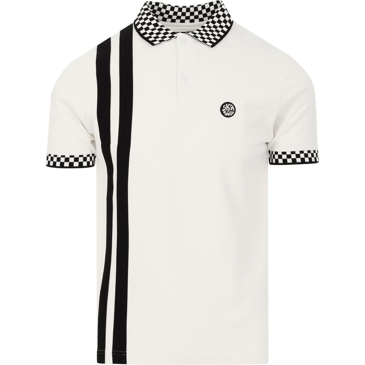 SKA & SOUL Mod Checkerboard Twin Stripe Polo ECRU