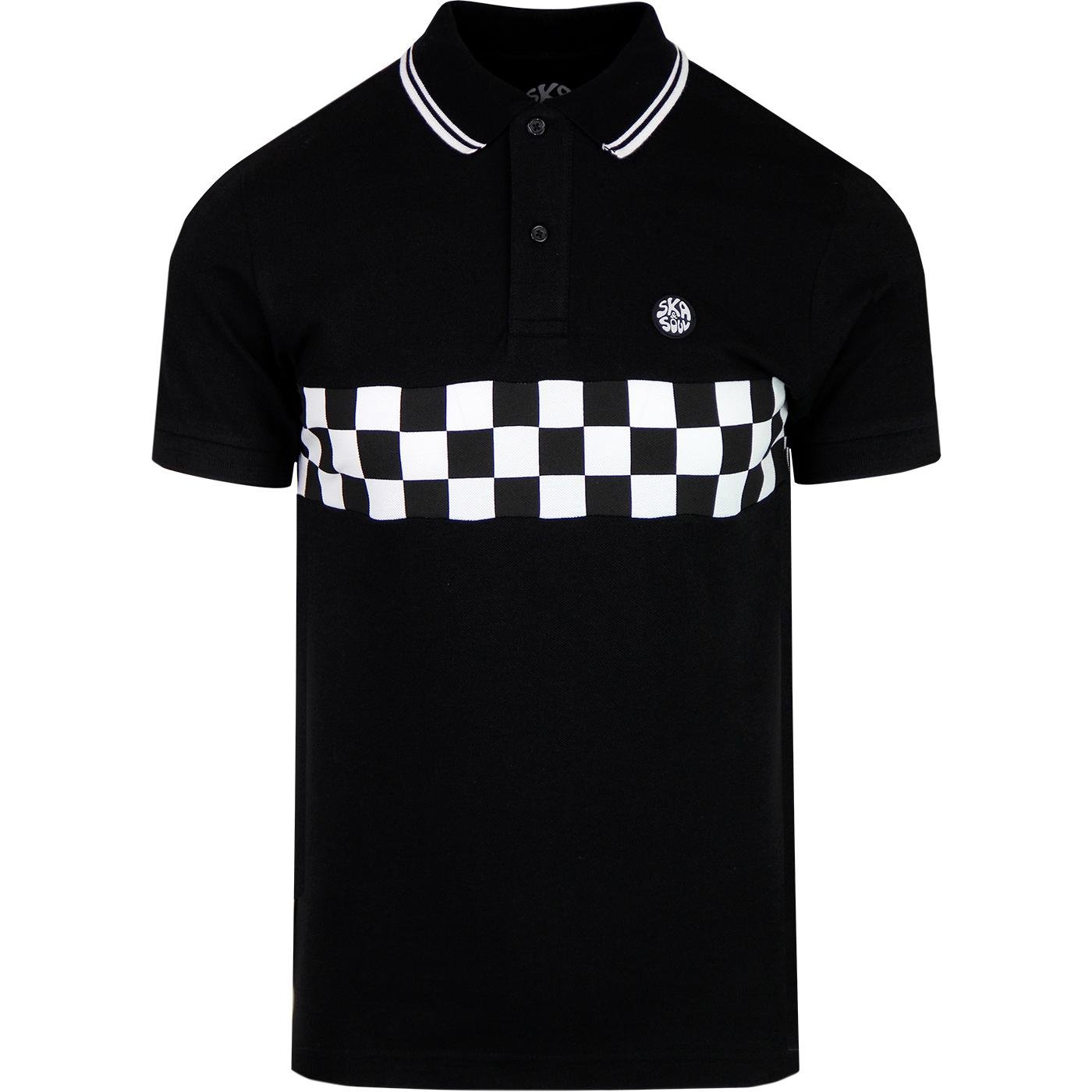 SKA & SOUL Mod Checkerboard Panel Tipped Polo
