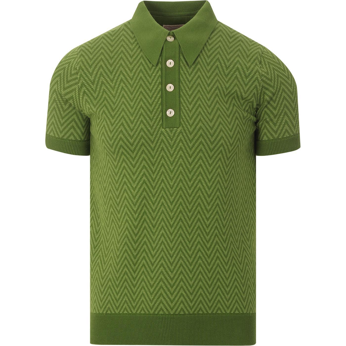 SKA & SOUL Mod Herringbone Knit Polo Shirt (Green)