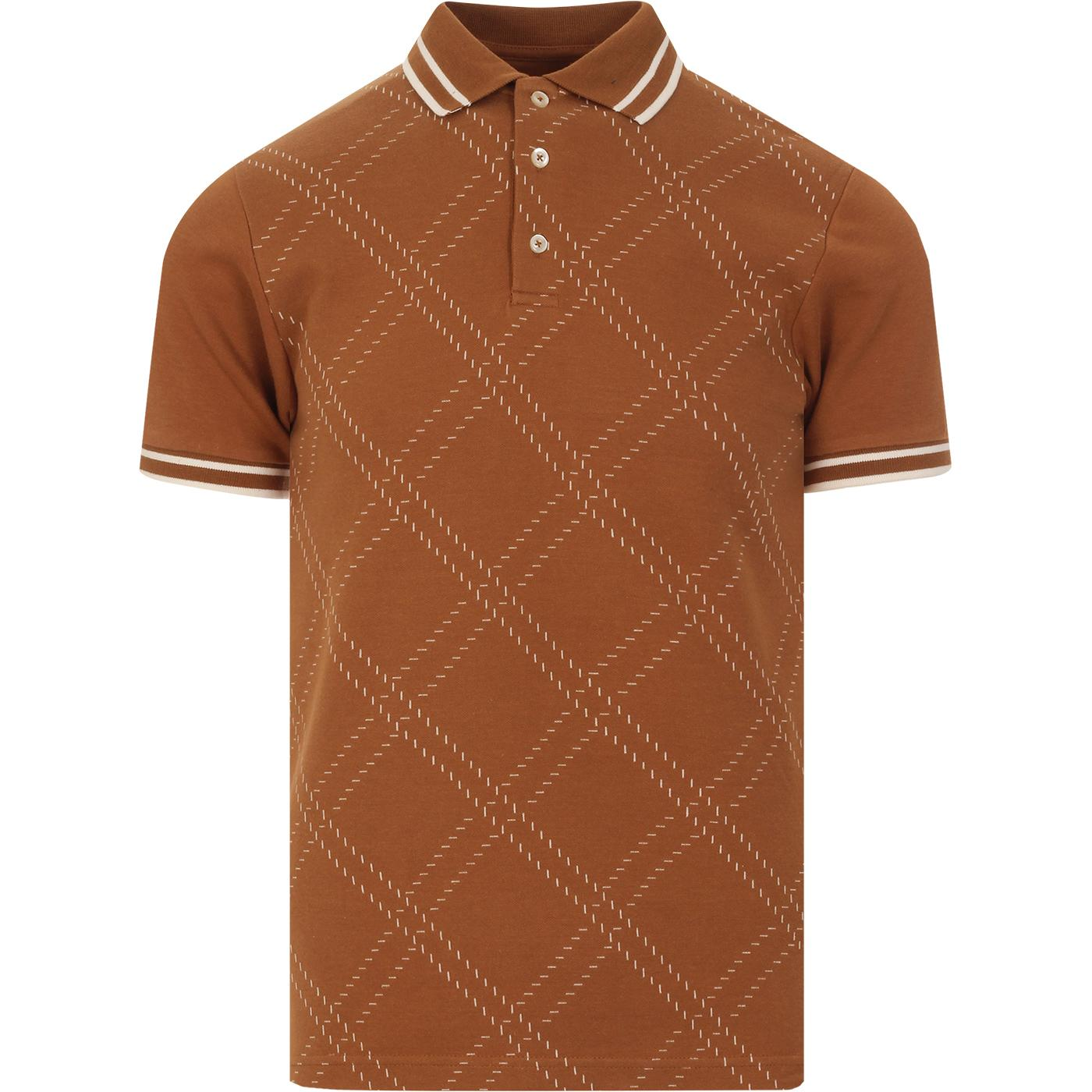 SKA & SOUL Jacquard Stitch Diamond Argyle Polo (G)
