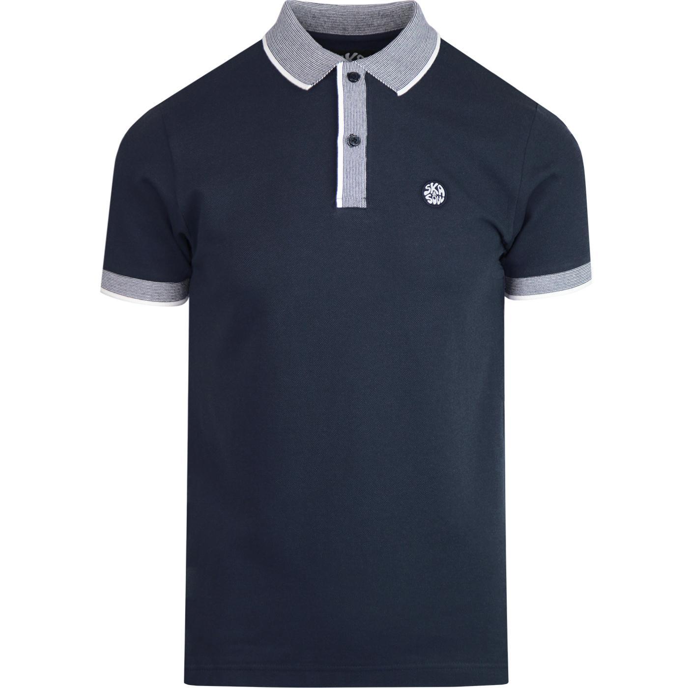 SKA & SOUL Mod Pin Stripe Trim Polo Shirt (Navy)