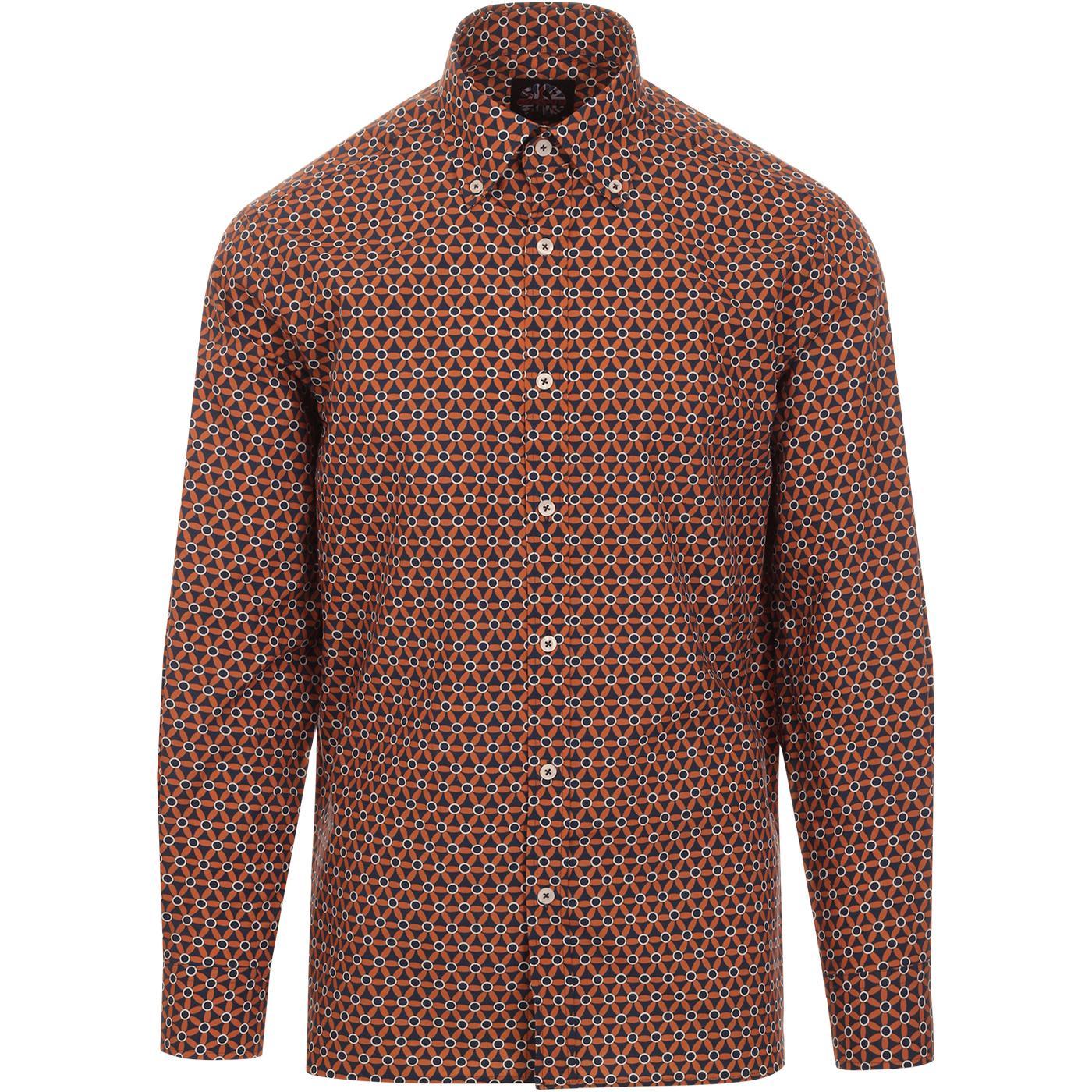 SKA & SOUL 60s Mod Floral Op Art Button Down Shirt