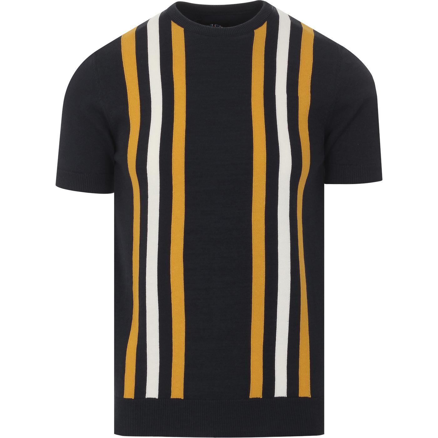 SKA & SOUL 60s Mod Stripe Knitted T-shirt (Navy)