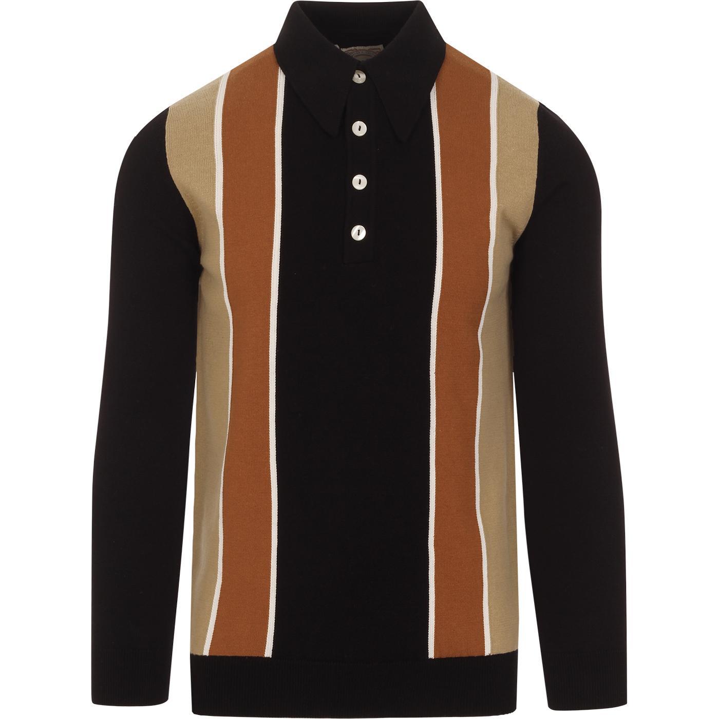 SKA & SOUL Vintage Americana Stripe Knit Polo (B)