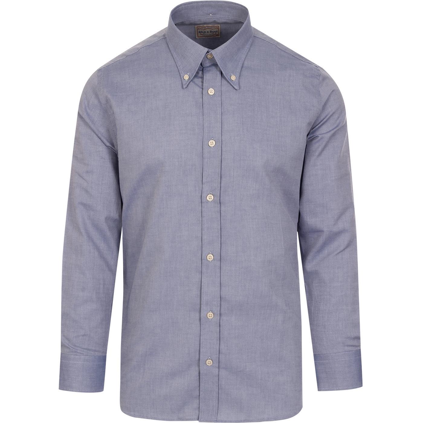 SKA & SOUL 60s Mod Spear Collar Oxford Shirt BLUE