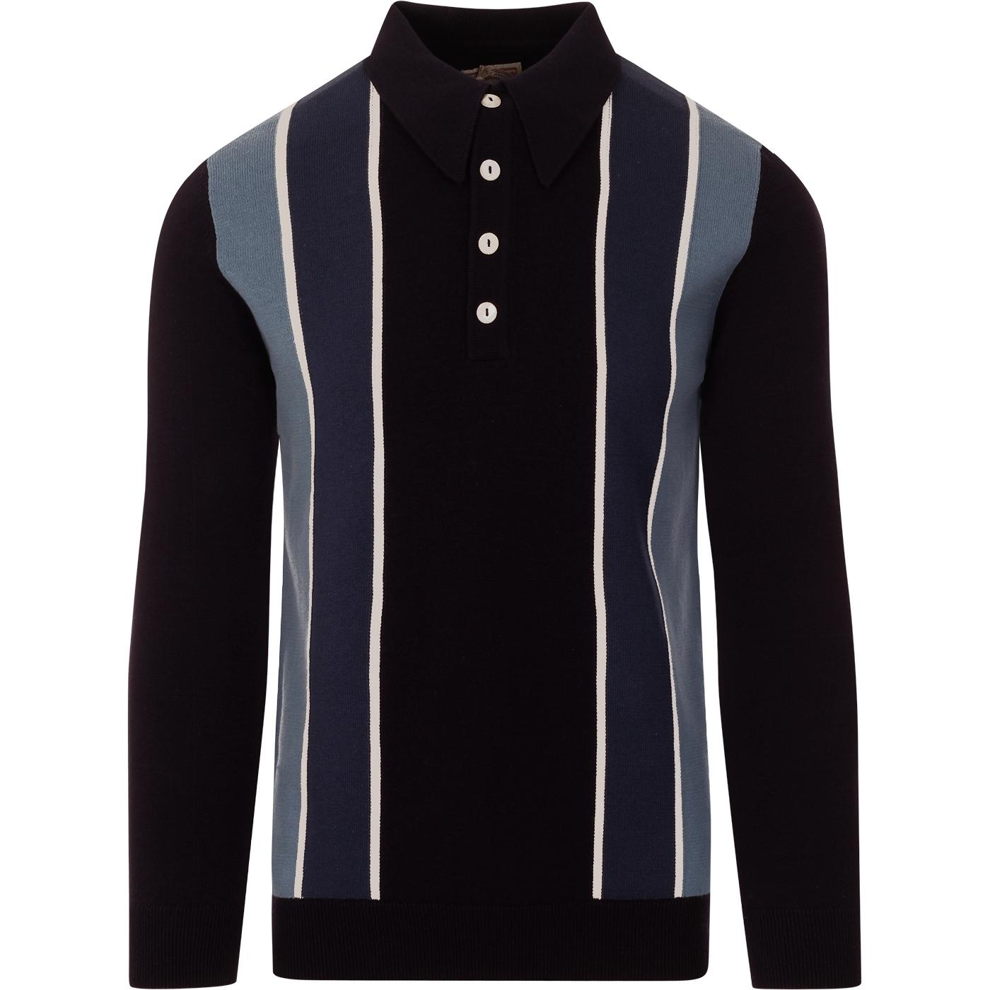 SKA & SOUL Mod Vintage Americana Stripe Knit Polo