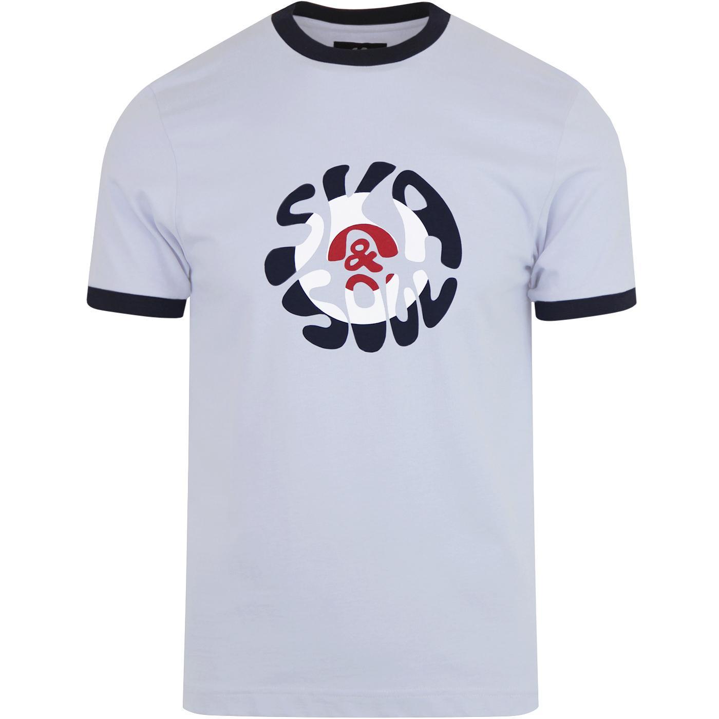 SKA & SOUL Mod Target Pop Art Logo Ringer Tee SKY