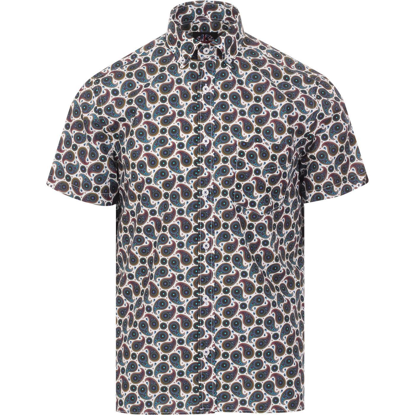SKA & SOUL 60s Mod SS Paisley Button Down Shirt