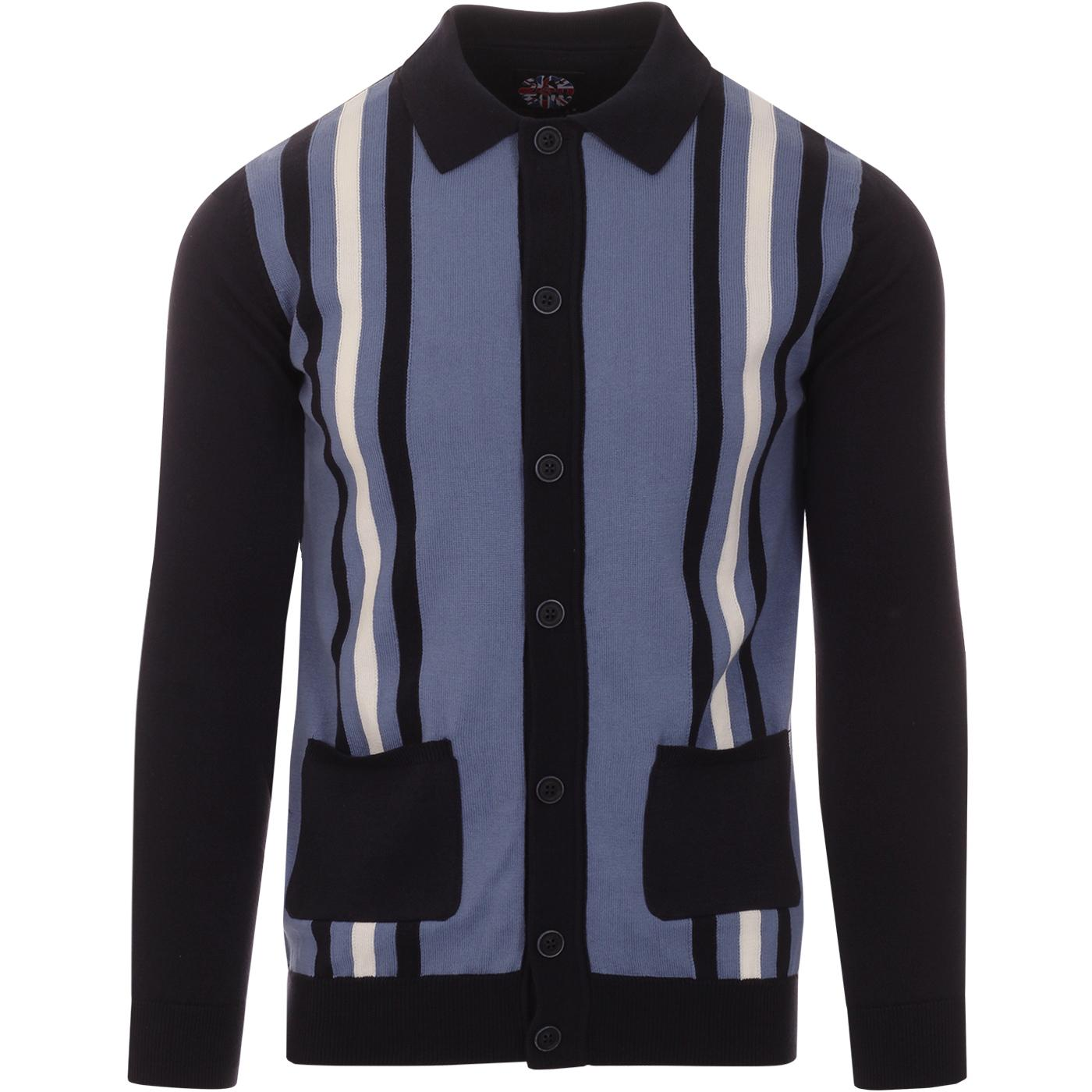 SKA & SOUL 60s Mod Stripe Knit Polo Cardigan NAVY