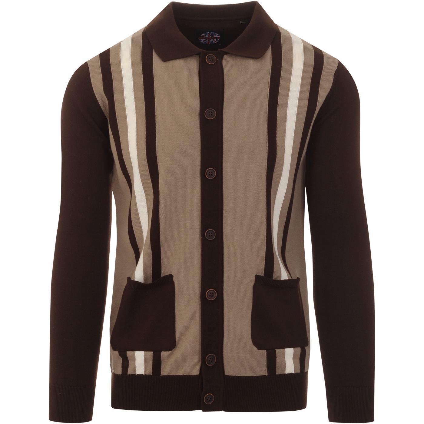 SKA & SOUL Retro Mod Stripe Knit Polo Cardigan (C)