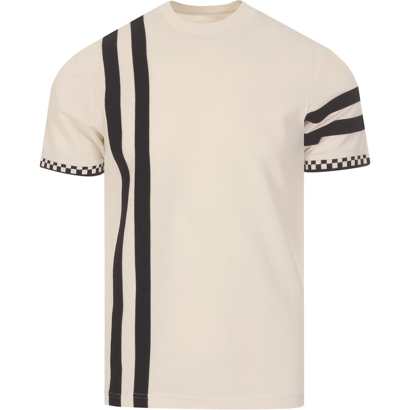 SKA & SOUL Mod Checkerboard Racing Stripe Tee ECRU