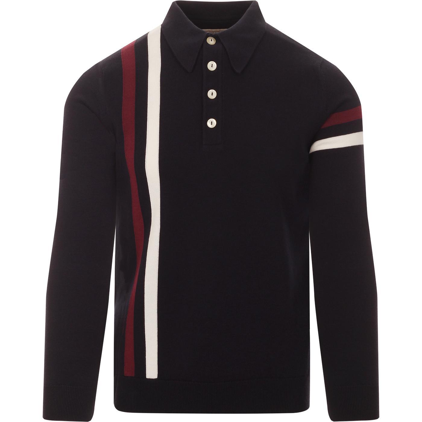 SKA & SOUL 60s Mod Racing Stripe Knit Polo Shirt N