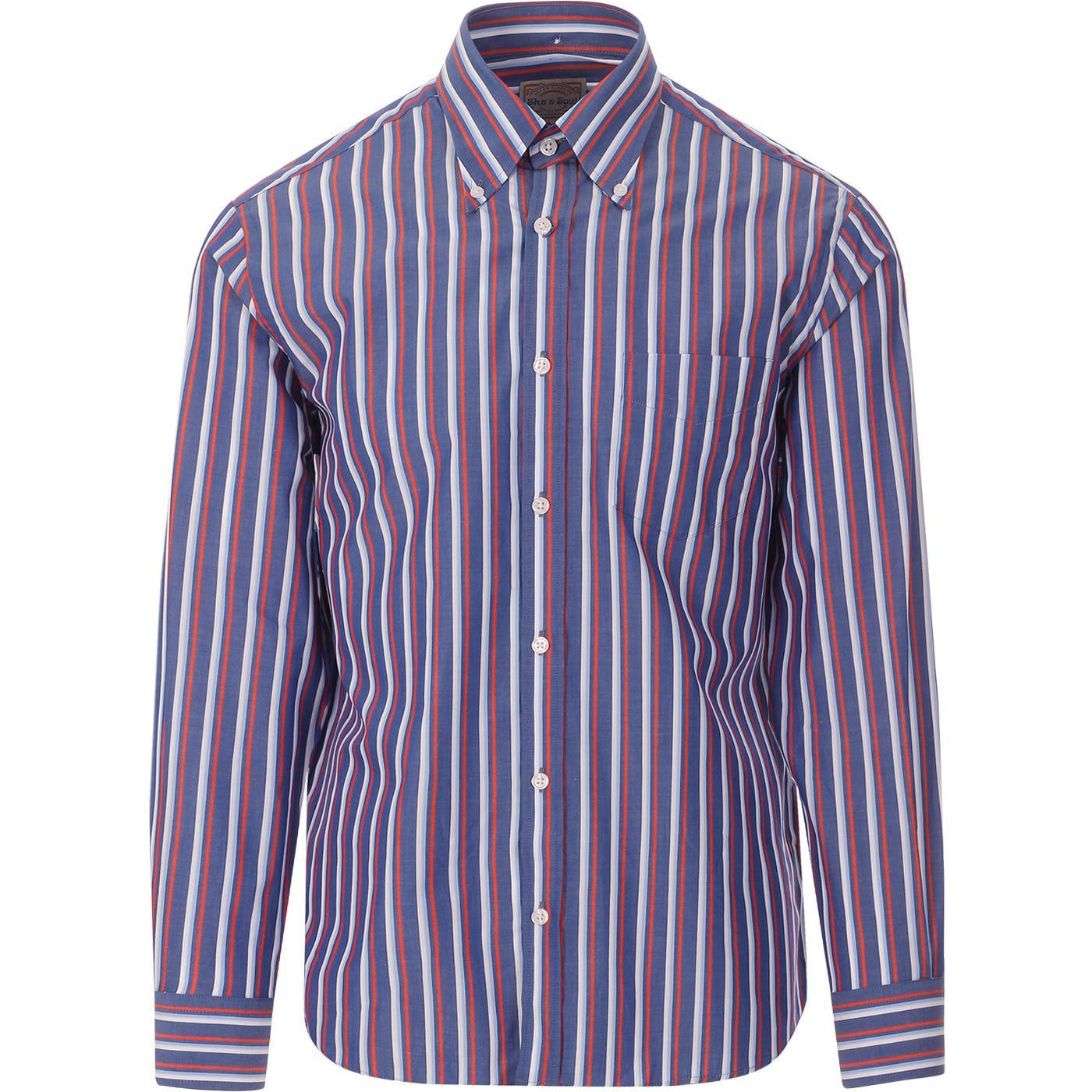 SKA & SOUL Mod Spearpoint Stripe Button Down Shirt
