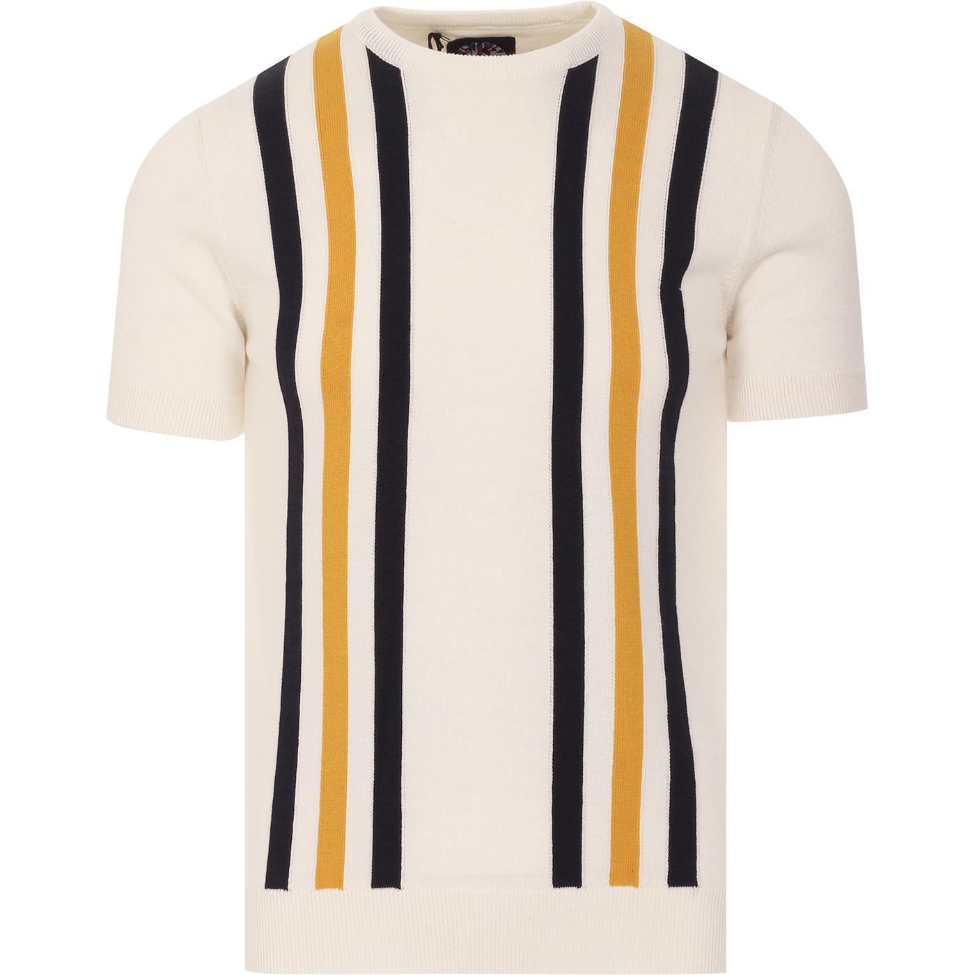 SKA & SOUL 60s Mod Stripe Knitted T-shirt (Ecru)