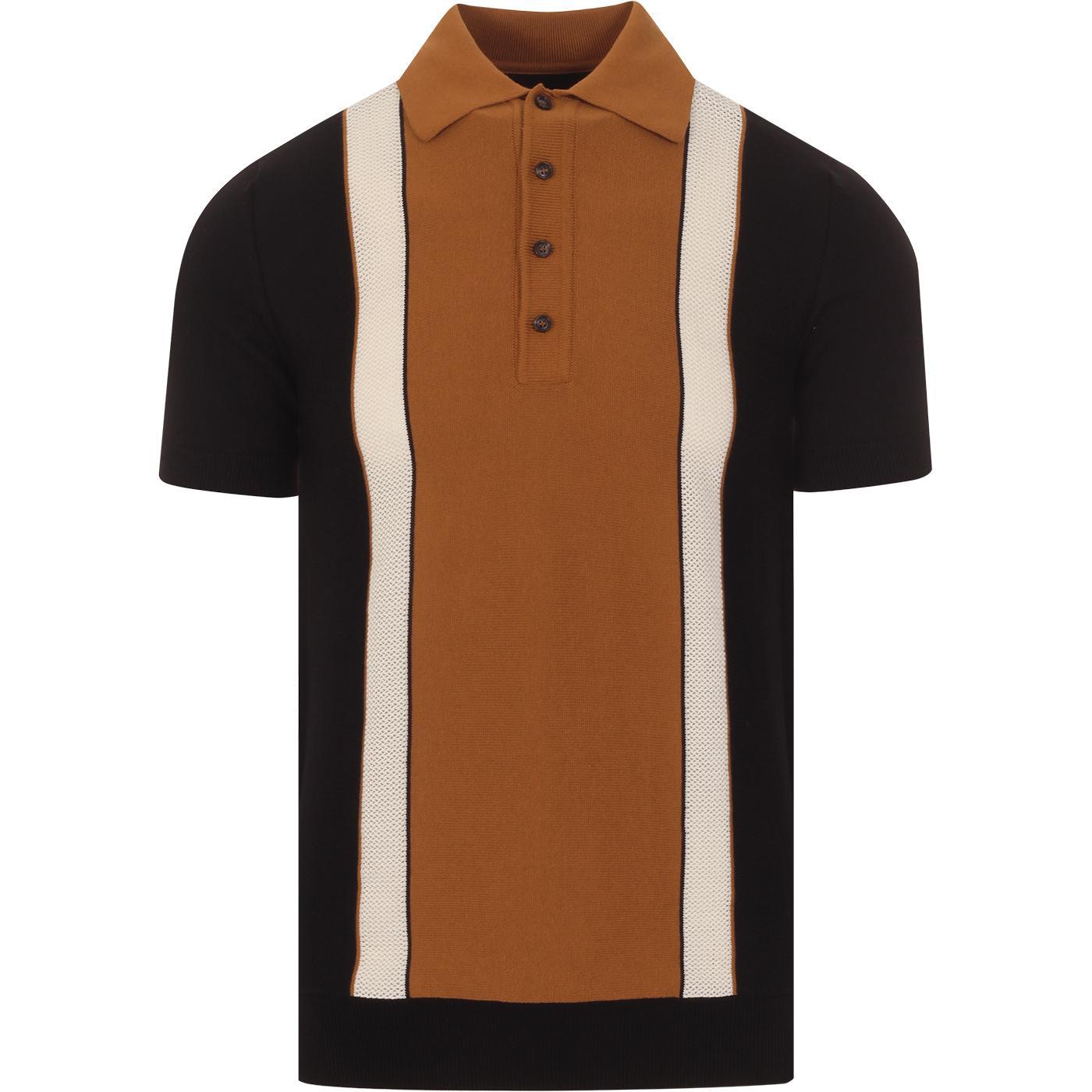SKA & SOUL Dobby Texture Stripe Mod Knit Polo (B)
