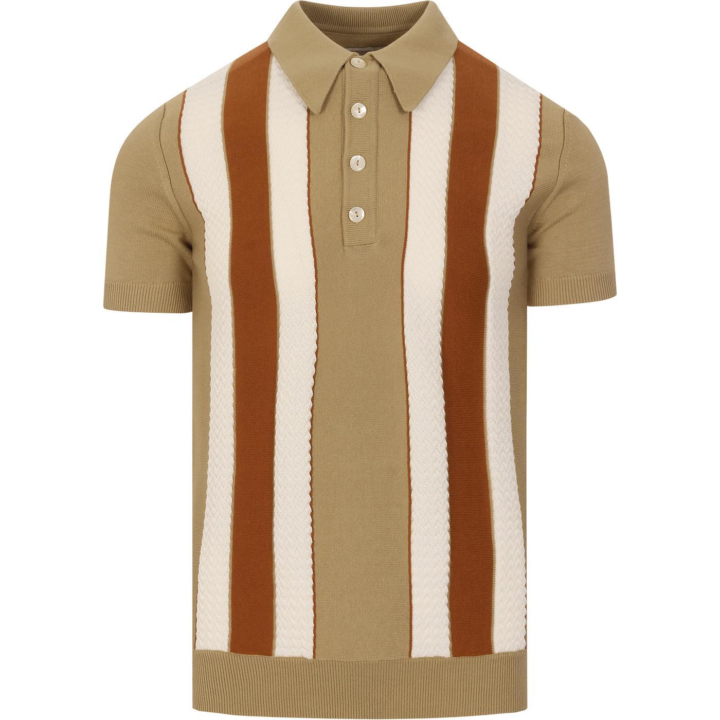 SKA & SOUL Mod Textured Stripe Knit Polo Top SAND