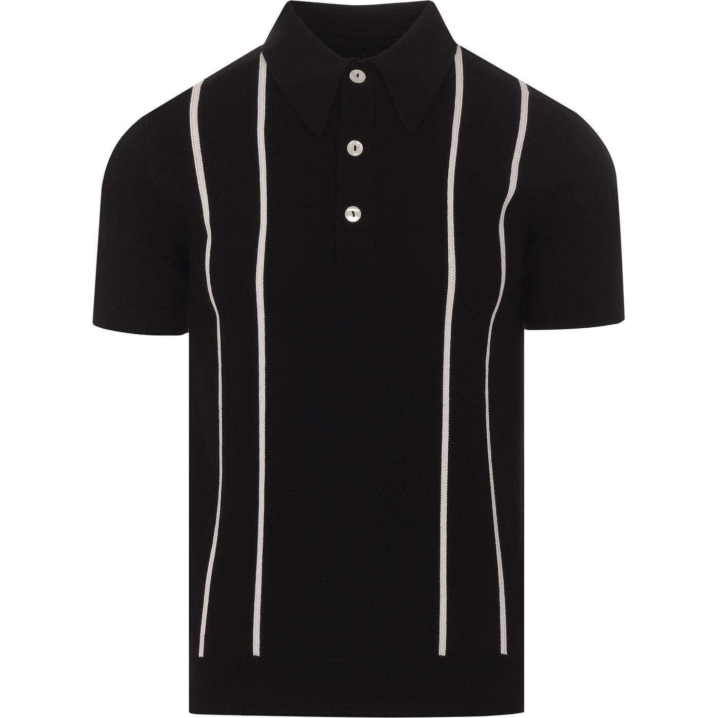 SKA & SOUL Mod Stripe Spear Collar Knit Polo Black