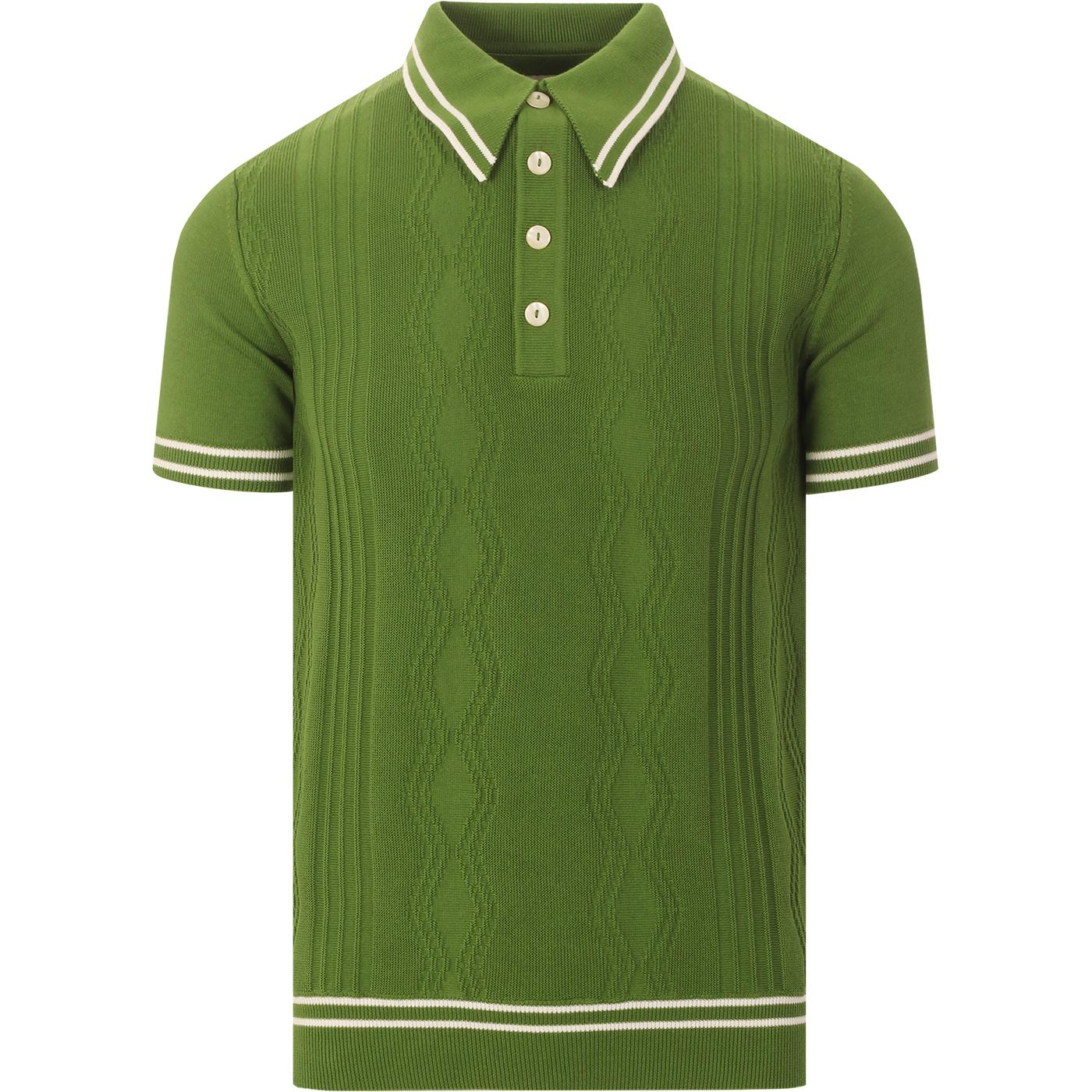 SKA & SOUL Mod Bold Tipped Cable Knit Polo (Green)
