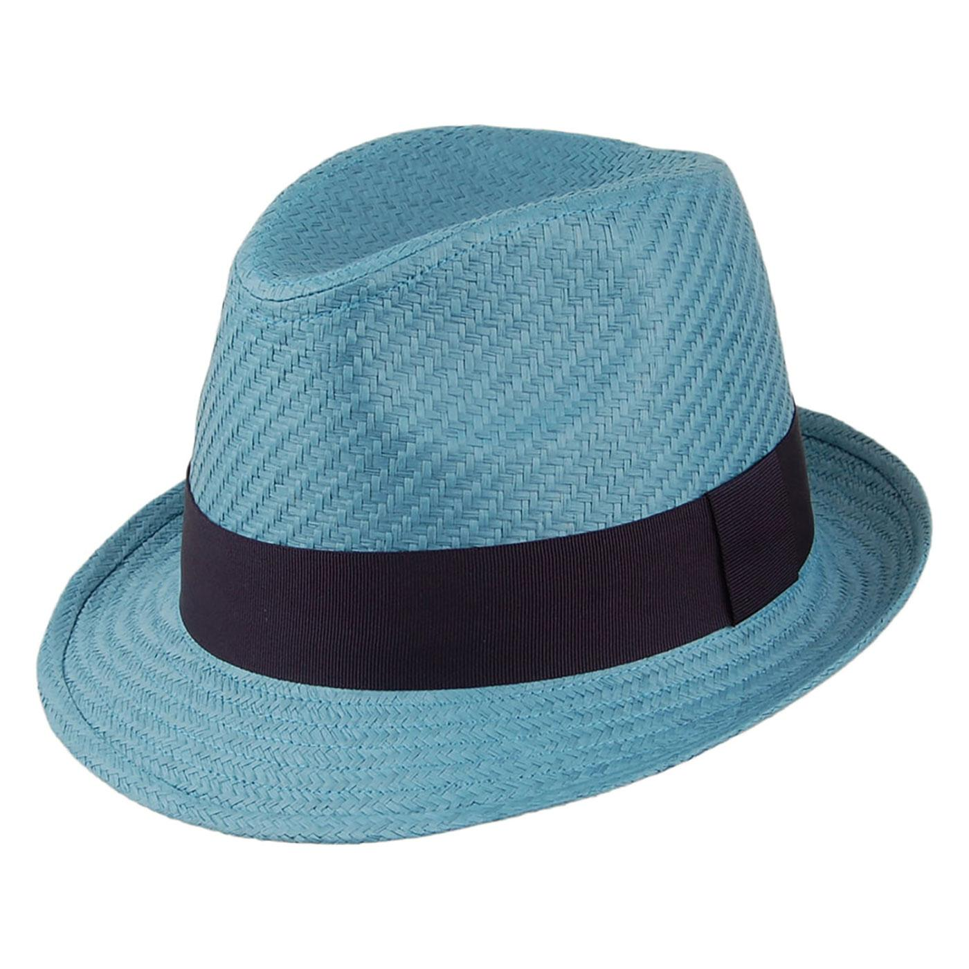 FAILSWORTH Men's Bold Retro Straw Trilby Hat BLUE