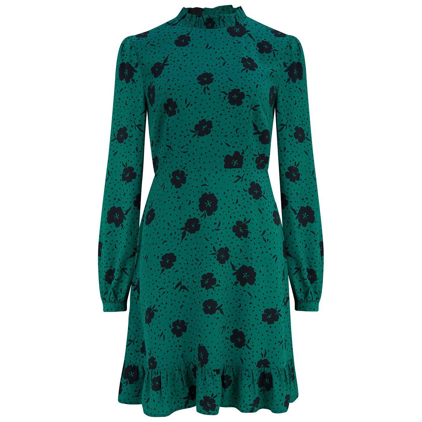Cassia SUGARHILL Retro Frill Mini Dress in Green