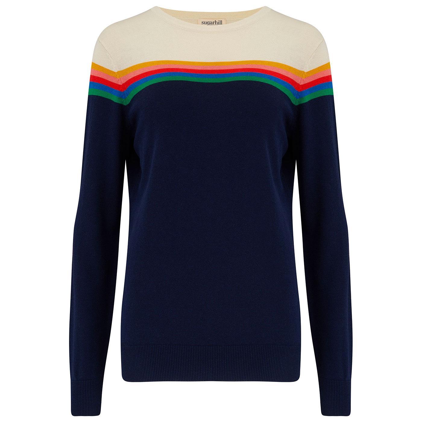 Rita SUGARHILL Retro 70s Rainbow Stripes Jumper