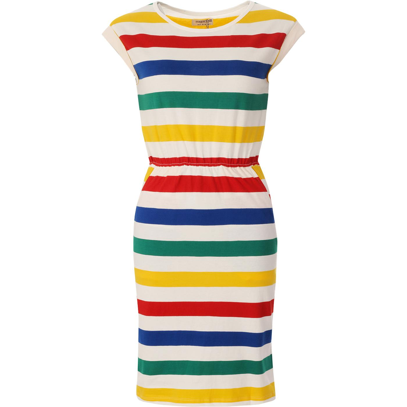 Kate SUGARHILL Retro 1970s Rainbow Stripe Dress