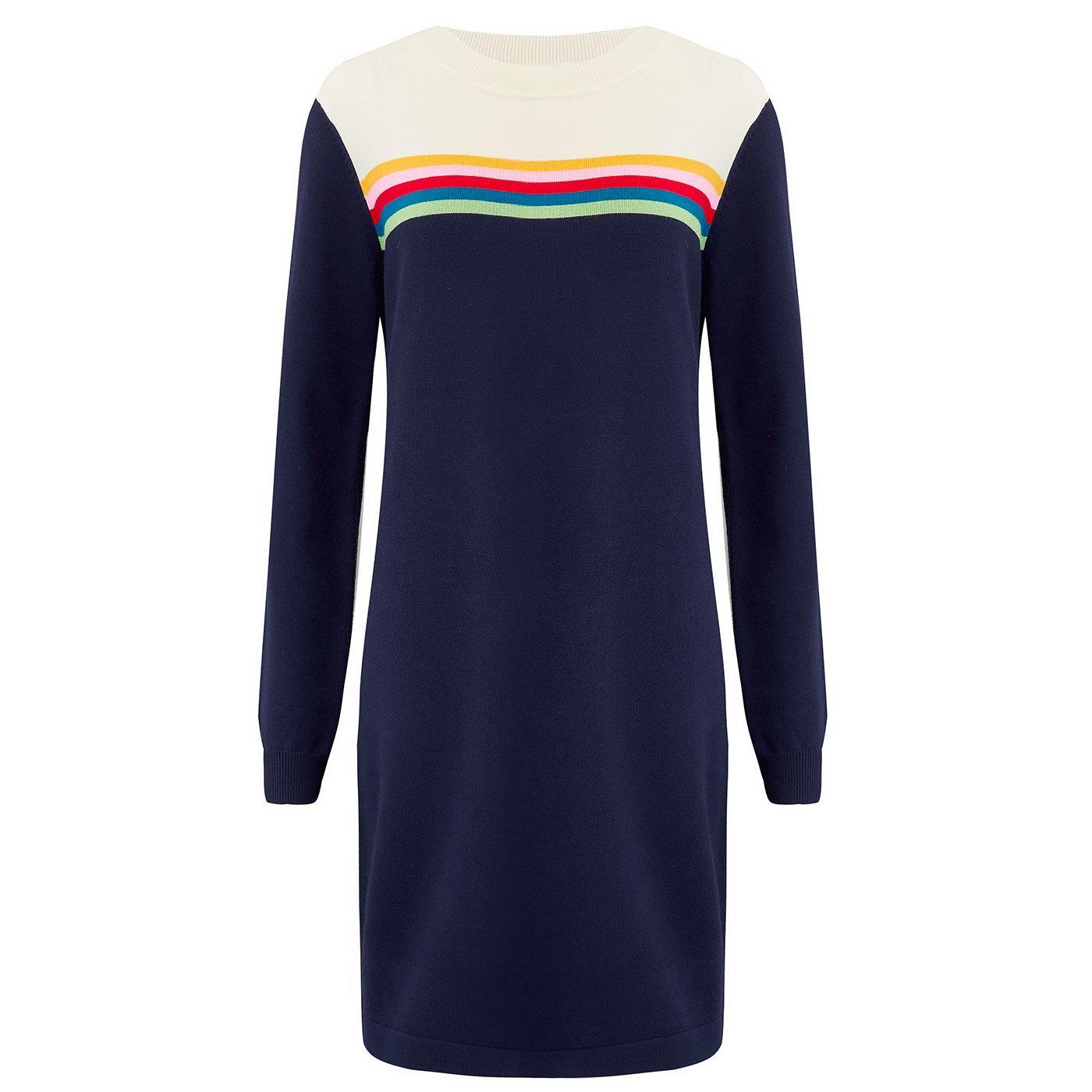 Orla SUGARHILL Retro Rainbow Stripe Knitted Dress