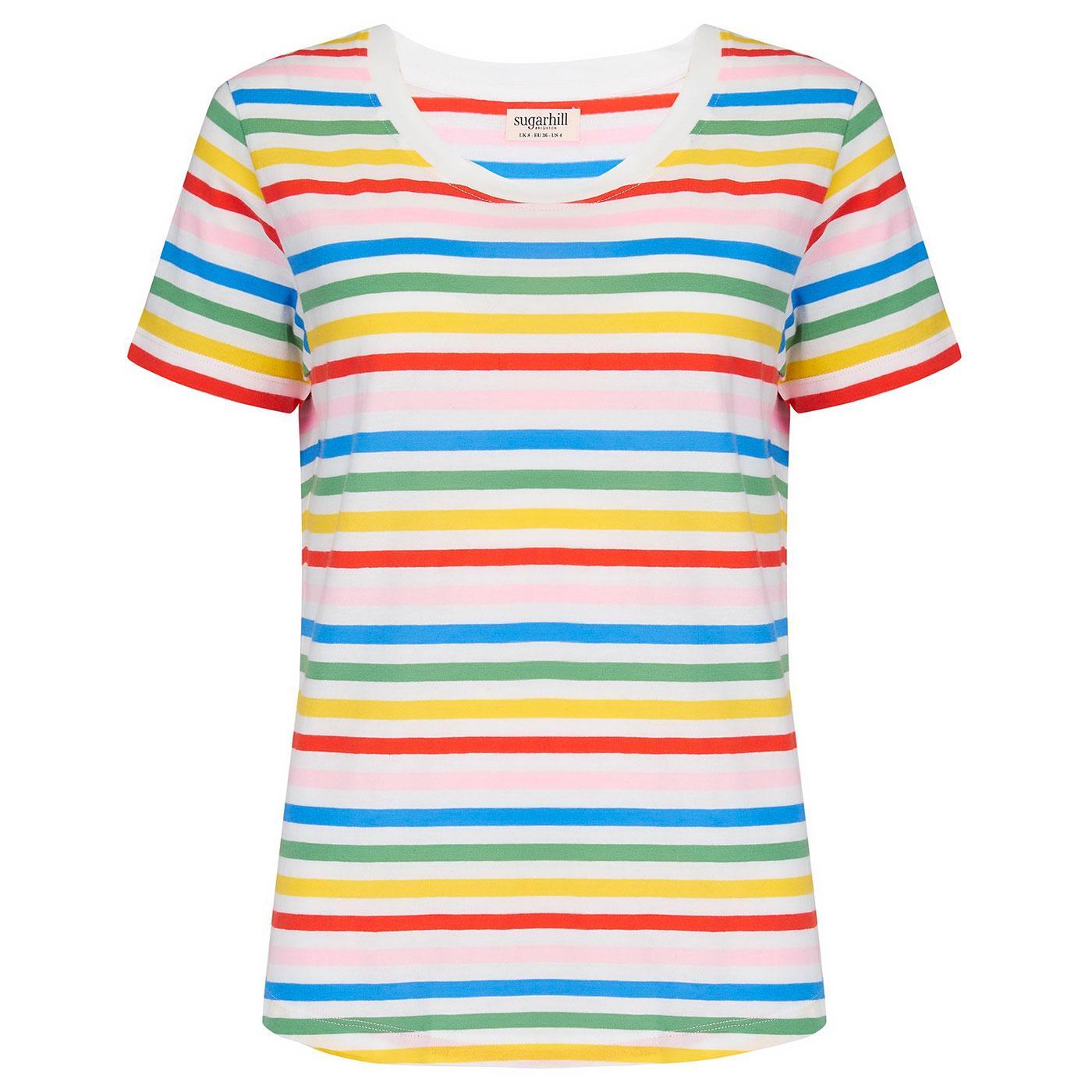 Sylvie SUGARHILL Retro 70s Rainbow Stripe T-Shirt