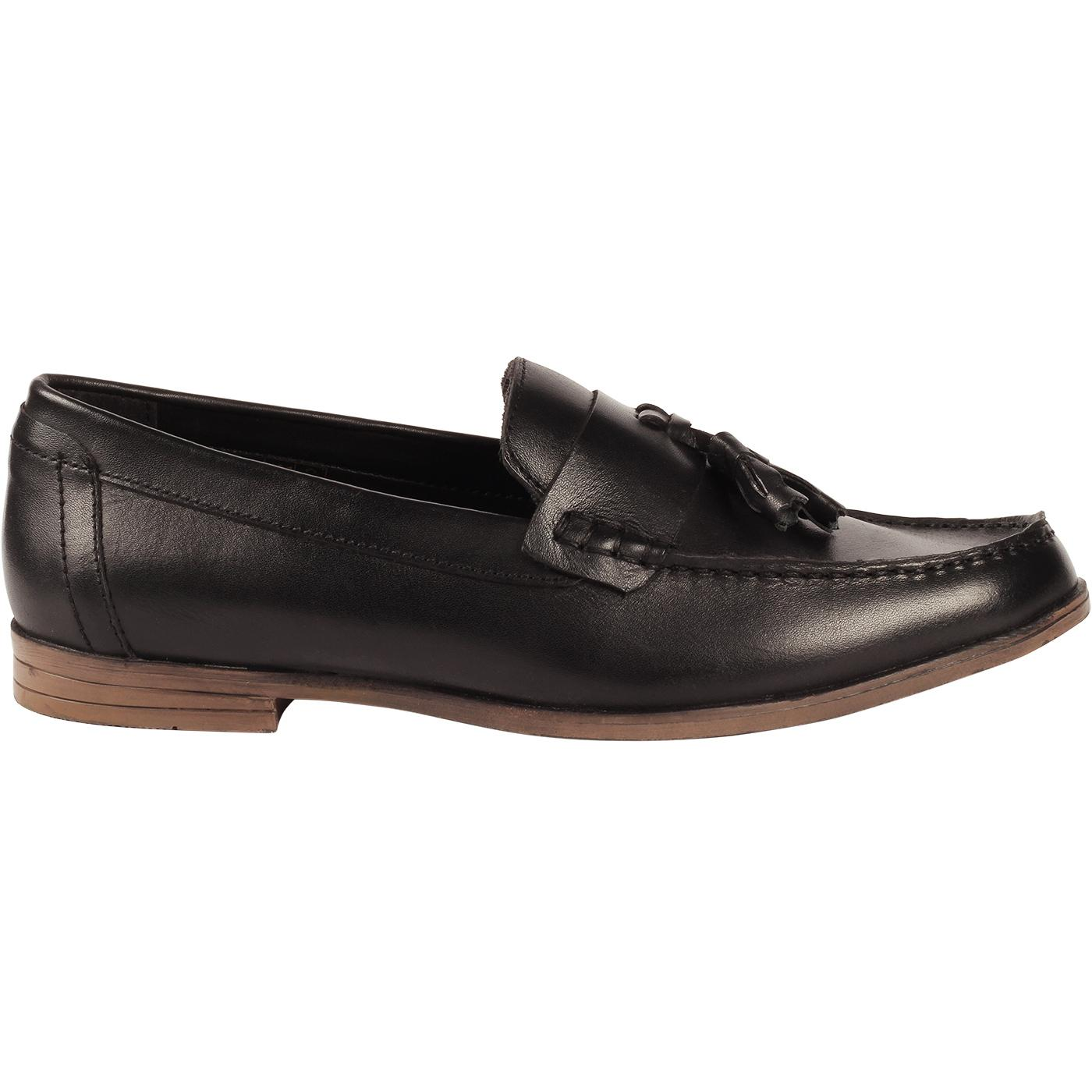 LAMBRETTA Men's Retro Mod Tassel Loafers (Black)